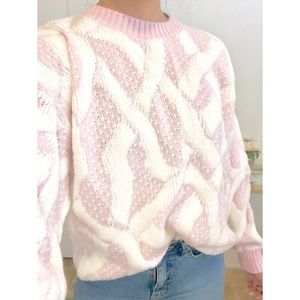 Vintage 80s Oversized Bubble Pink Knit Sweater NWT